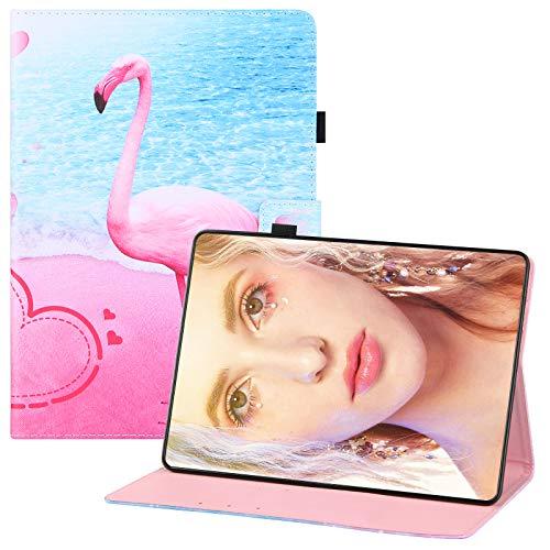 YKTO Funda Tableta para Huawei MediaPad T3 10 Soporte Plegable Cierre Magnetico Flip Billetera Carcasa Precioso Diseño de Patrón Pintado PU Cuero Tableta Cover para Huawei MediaPad T3 10,Flamenco