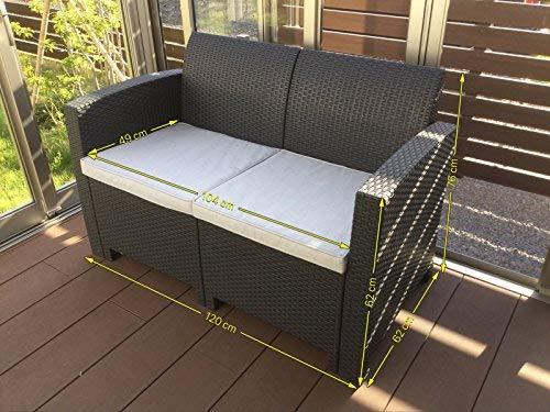 スマート除菌器無料進呈キャンペーン実施中!!高級ラタン調ガーデンソファー 二人掛け 3点セット ダークブラウン(2人掛け1脚 クッション2枚)