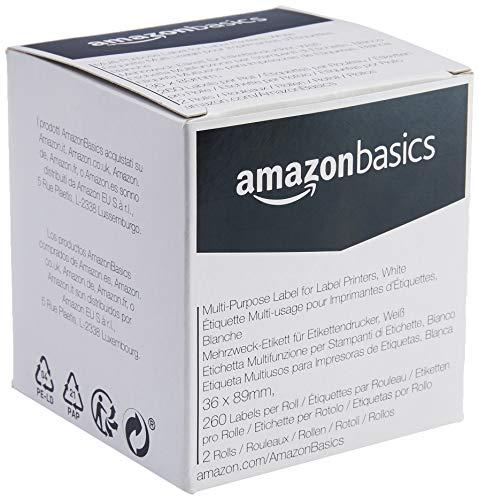 AmazonBasics - Mehrzweck-Etiketten für Etikettendrucker, Weiß, 36 mm x 89 mm, 260  Etiketten pro Rolle, 2 Rollen