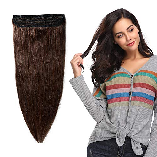 "100% Remy Clip in Human Hair Extensions #2 Dark Brown 16-22inch Natural Hair Grade 7A Quality 3/4 Full Head 1 Piece 5 Clips Long Thick Soft Silky Straight for Women Beauty 18"" / 18 inch 90g"