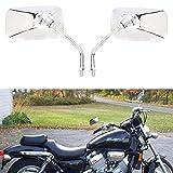 M10 Specchietti laterali per moto, Specchietti retrovisori per moto rettangolari cromati per Bobber ATV Street Bike Cruiser Chopper