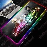 Sword Art Online RGB Gaming Large XXL Mouse Pad Gamer Led Anime Mousepad con retroiluminación para Teclado Escritorio Mat 400X900X4Mm