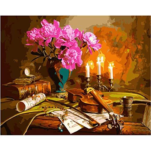 ZJZNB schilderen op nummers, knutselen, viool onder kaars, natuur, doden, canvas, decoratie voor bruiloft, foto, Gift40 x 50 cm