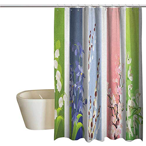 Flower Funny Shower Curtain Spring Flowers on Different Backgrounds Lily Blossoms Valley Primrose Floral Print Fabric Shower Curtains for Bathroom W78 x L70 Inch Multicolor