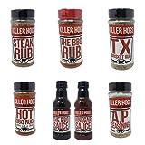 Killer Hogs Barbecue Ultimate Sampler - BBQ Sauce, Vinegar Sauce, Hot BBQ Rub, Steak Rub, A.P. Seasoning, Texas Brisket Rub, and Original BBQ Rub - 112 oz Total of Bulk Killer Hogs BBQ Variety Pack