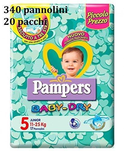 340Pampers Baby Dry PANNOLINI Größe 5Junior (11–2515–36kg) 20Pakete