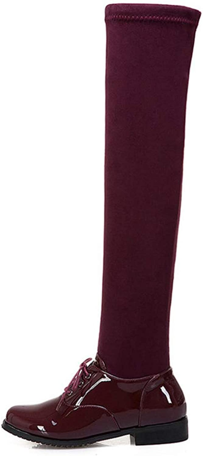 GEORPE Over The Knee Boots Round Toe Zip Pu + Stretch Fabric Ladies Low Heels shoes