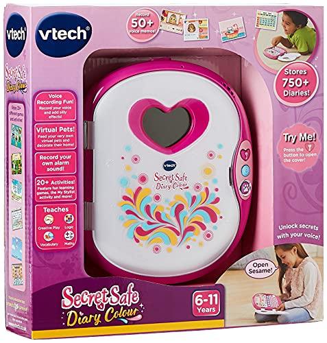VTech Pink Secret Safe Girls Diary Journal intime pour filles, jouet éducatif avec jeux, connexion MP3 et plus encore | Cadeaux pour filles de 5, 6, 7 ans et plus, rose