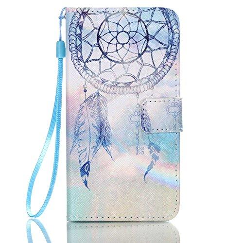 ISAKEN Custodia Cover Compatibile con Samsung Galaxy J5 2016 Flip Cover in PU Pelle Protettiva Flip Portafoglio Case Wallet Cover con Strap/Supporto di Stand/Carte Slot/Chiusura - Rainbow