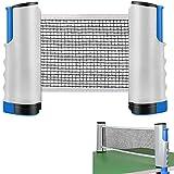 Delee Filet de tennis de table rétractable et poteau Filet de ping-pong réglable, bleu