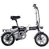 14インチCity Road電動自転車48V、10Ah、250W調整可能なハンドルバーシート折りたたみ式Eバイク,Black
