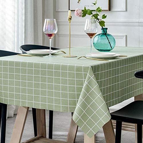 Yinaa Moderno Mantel Tipo Hule Encerado Rectangular Resistente Al Desgaste y Duradero Resistente Al Desgaste Impermeable Elegante Verde Claro 100×160cm