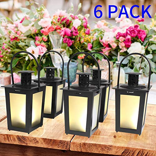 SHYMERY Black Mini Lantern, Vintage Hanging Small Candle Lanterns with Flickering LED for Halloween,Christmas,Wedding,Table Centerpiece, Accent Piece Decorative,Set of 6