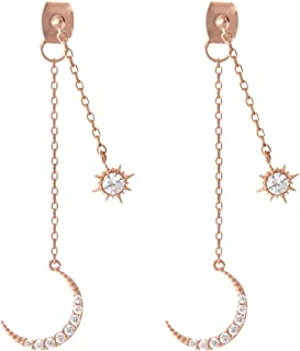 CZ Crescent Moon and Star Chain Drop Earrings Ear Jackets