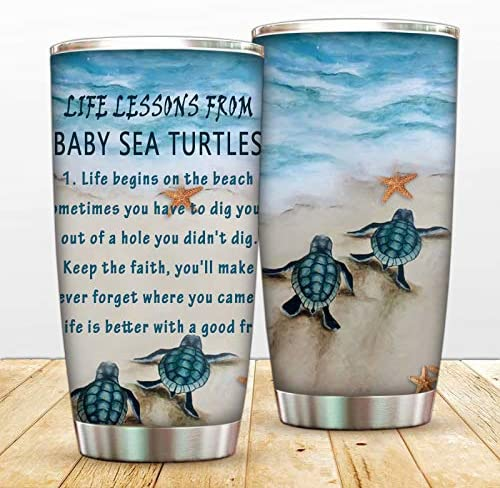 Turtles Tumbler Cup with Lip Stainless Steel Vacuum Insulated Animal Mug Double Walled Inspiration product image
