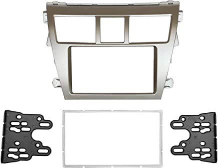 DKMUS Double Din Radio Stereo Dash Installation Mount Trim Kit Compatible with Toyota Vios belta Yaris Sedan
