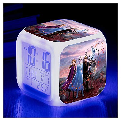 JiangJie Kawaii Hot Film Prinzessin ELSA Anna Digital Wecker Farbwechsel LED Uhr Kinder Cartoon Spielzeug - Digital Wecker Kinder Schlafzimmer Nachtlicht Uhren, gutes Geschenk