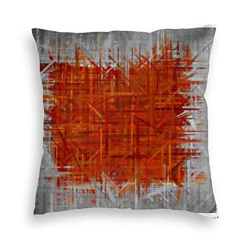 Funda de almohada, color naranja y gris, diseño de pintura fina, decorativa, cuadrada, 45,7 x 45,7 cm, para sofá, dormitorio, sala de estar, decoración