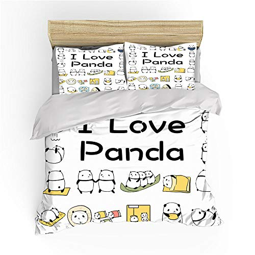 BSZHCT Duvet Cover Set Double bed Size I love pandas Printed Bedding Set 100% Hypoallergenic Microfiber Quilt Cover and 2 Pillowcases Duvet Set Gift for Teens Girls boy adult