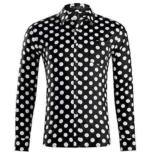 Camisa de Manga Larga con Estampado de Lunares para Hombre, Tendencia de Moda, Contraste de Color, Ropa de Calle Informal, Camisa básica con Botones L