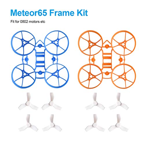 BETAFPV Meteor65 1S Brushless Whoop Blue Orange Frame Kit with 2 Sets 31mm 3-Blade Props 1.0mm Shaft White for 65mm Meteor65 1S Brushless Micro Tiny Racing Whoop Quadcopter