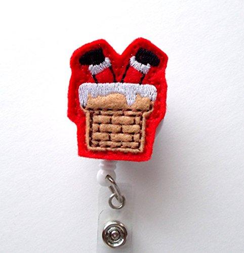 Chimney Santa - Retractable ID Felt Badge Holder - Christmas Badge Reel - Nurses Badge Holder - Medical Badge - Teacher Badge - Felt Badge Holder Photo #3