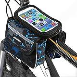 JEPOZRA Bicicleta Cuadro Soporte movil Bici Funda Valida para Smartphones de hasta 7.5' con Forro Protector Lluvia Bolsa para Bicicleta Soporte para movil Bicicleta Porta movil Bicicleta (Azul)