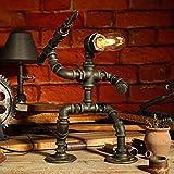 PIPRE - Lámpara de mesa con diseño de robot vintage, industrial, creativa, tubo de agua, Como un valiente soldado, lámpara LED de mesa para mesita de noche, bar, restaurante, 39 cm