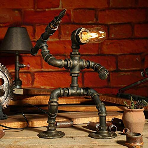 PIPRE - Lámpara de mesa con diseño de robot vintage, industrial, creativa, tubo de agua, Como un valiente soldado, lámpara LED de mesa para mesita de noche, bar,...