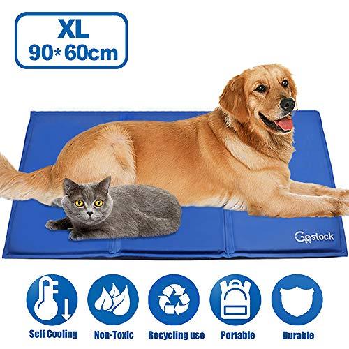 GoStock Pet Cooling Mat Haustier kühlmatte Kühlmatte für Hund & Katze Haustier Eismatte Selbstkühlende Matte Hunde Matte Haustier Matte für Kisten, Hundehütten und Betten (90 * 60cm)