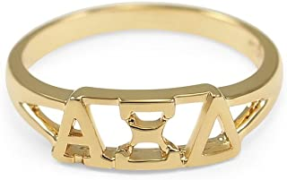 Alpha Xi Delta 14k Gold Plated Sorority Ring with Greek Letters