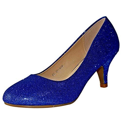 Rock on Styles NEU Damen Party Ball Abend Kätzchen Absatz Pumps Größe 98-19 - Königsblau, 5 UK