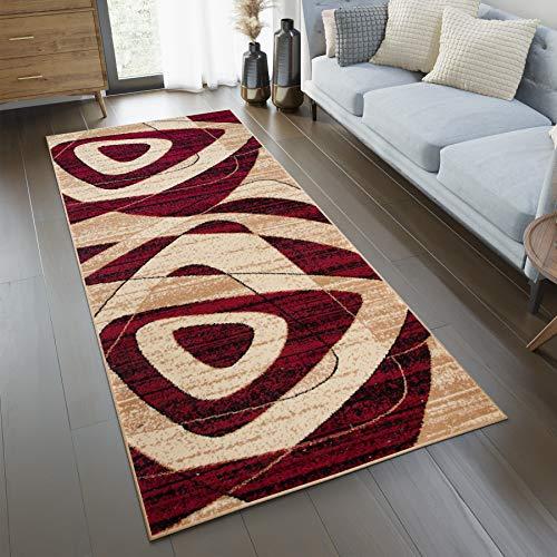 TAPISO Tappeto Passatoia Dream Camera Corridoio Salotto Moderno Cucina Crema Rosso Motivo Astratto 100 x 150 cm