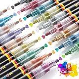 18 Colores Rotuladores De Pintura Acrílica, MOSUO Rotuladores Metálicos de Permanente para Pintura de Roca, Cerámica, Porcelana, Vidrio, Guijarros, Tela, Lienzo, Madera