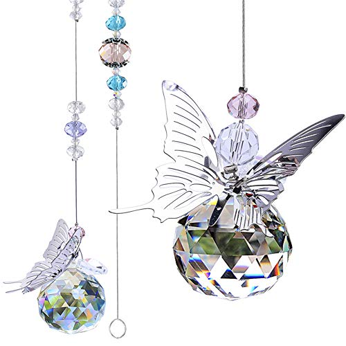 WEISIPU Crystals Ball Prisms Suncatchers  Hanging Ornament Crystals Butterfly Suncatchers with Clear Crystal Ball for Home Office Garden Decoration Car Pendant Birthday Present