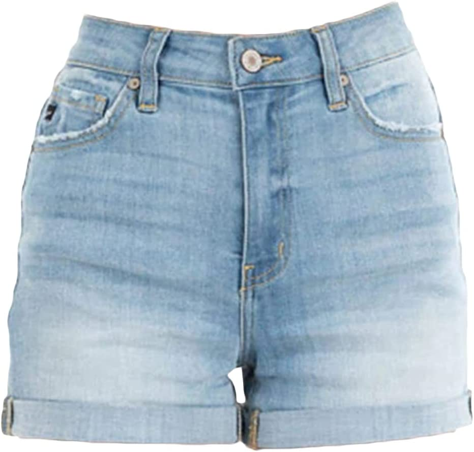 Womens Cuffed Straight Denim Shorts Classic Casual Rolled Hem Stretch Jean Shorts Summer Folded Washed Short Jeans (Light Blue,Small)