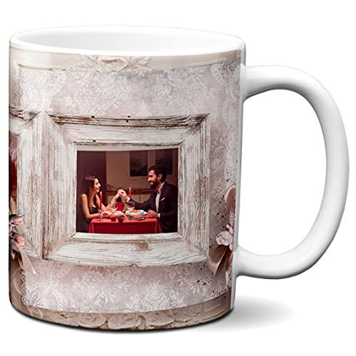 Niestandardowy kubek z 3 zdjęciami - wykonany na zamówienie - spersonalizowany kubek - spersonalizowany kubek do kawy - motyw koronkowy i drewniany - 325 ml ceramiczny kubek do herbaty