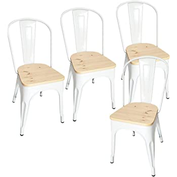 Lot de 4 Chaises Blanches en métal,Tabouret Salle à Manger Industrielle 44cm de Hauteur,Assise avec dossier et siège en bois,pour Cuisine Bistrot