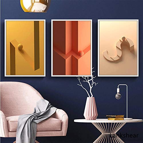 Abstract Wall Art Prints 3d Geometry Letters Posters Scandinavian Canvas Painting Minimalist Wall Pictures For Living Room Decor 40x60cmx3 No Framed