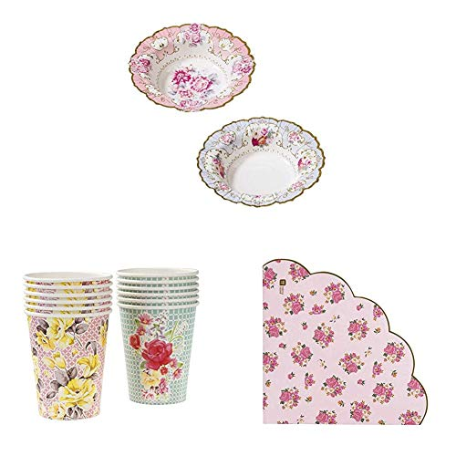 Talking Tables Truly Scrumptious Afternoon Tea Party Paper Bowls, Paper Cups, Floral Napkins