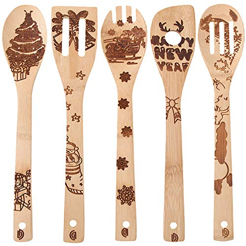 5 PCS Bamboo Spoons Cooking and Serving Utensils Set - Magic Pattern Burned Wooden Spoon Spatulas Kitchen Utensil Perfect Gift For Chefs & Foodies (newyear)