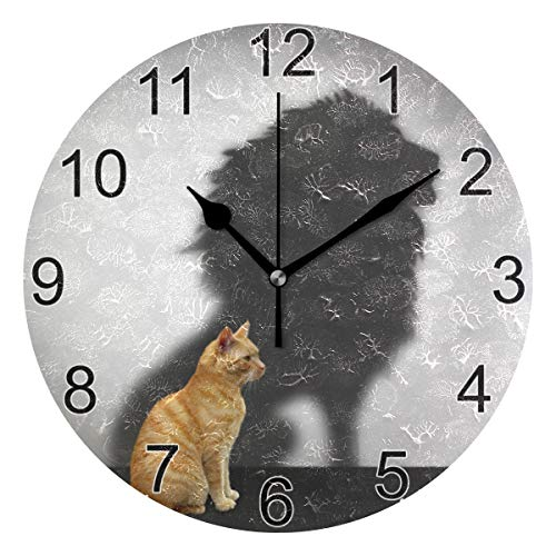 XZY Home Cute Cat Wall Clock for Bathroom Lion Shadow 9 Inch Round Wall Clock Acrylic Silent Non-Ticking for Living Room Kitchen Bedroom 5010793