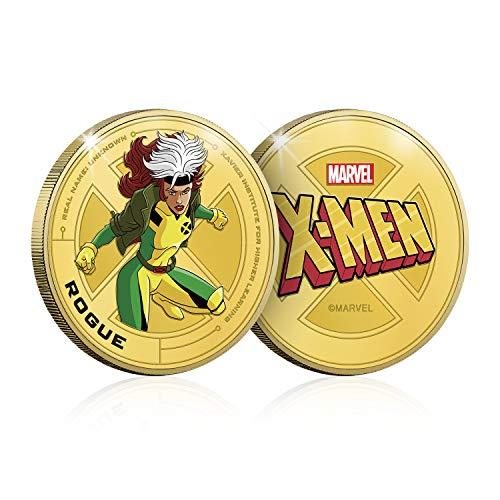 IMPACTO COLECCIONABLES Marvel X-Men Colección - Rogue, Moneda / Medalla Conmemorativa acuñada con baño en Oro 24 Quilates y Coloreada a 4 Colores - 44mm