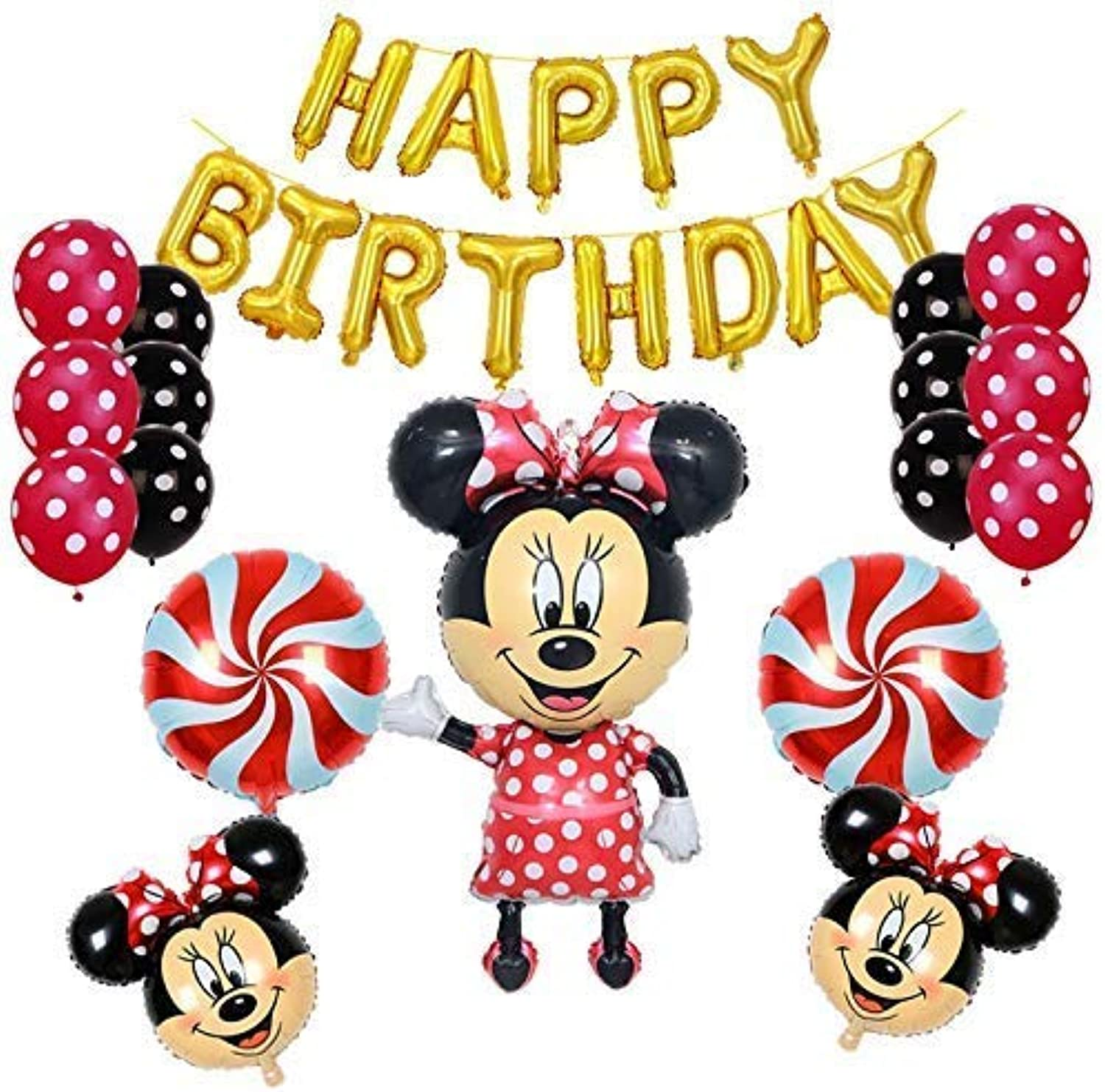 Minnie Mouse Birthday Party Supplies and Red Polka Dot 18 pc Balloon Decorations