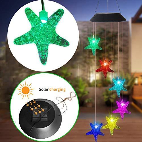 Solar Windgongen, LED Solar Light Kleurrijke Duurzame Wind Chime, Crack Glass Ball Veranderende kleur Lamp Automatische Sensor Garden Spinner Buitenverlichting
