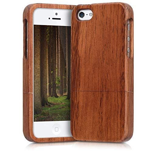 kwmobile Hülle kompatibel mit Apple iPhone SE (1.Gen 2016) / 5 / 5S - Handy Schutzhülle aus Holz - Cover Handyhülle Braun