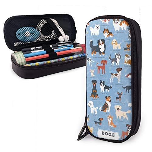 Estuche para bolígrafos de gran capacidad para guardar los artículos de papelería de los estudiantes con cremallera y bolsa de suministros de oficina para niños, niñas, animales, cachorros de dibujos animados