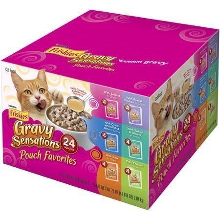 Friskies Wet Cat Food Variety Packs of 24 (Gravy Sensations Pouch Favorites 3 oz Pouches)