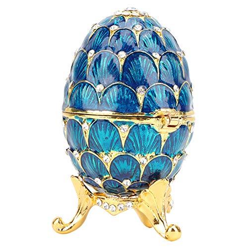 Longzhuo Huevo de Fabergé esmaltado Pintado a Mano Huevo de Pascua esmaltado Estilo Vintage Organizador de Joyas Caja de baratijas Decoración Artesanía Decoración para el hogar(Azul)