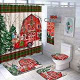 Likiyol 7 Pcs Christmas Vintage Red Truck Shower Curtain Sets with Rugs and Towels, Include Non-Slip Rug, Toilet Lid Cover, Bath Mat and Towels, Waterproof Christmas Tree Shower Curtains